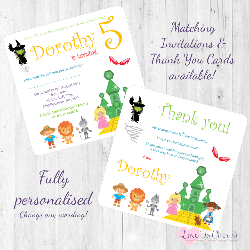 <!-- 010 -->The Wonderful Wizard of Oz Fairytale Invites & Thank You Cards
