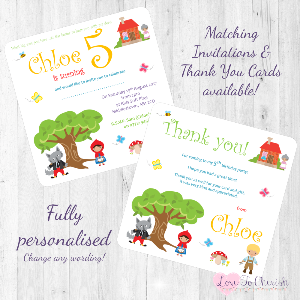 <!-- 011 -->Little Red Riding Hood Fairytale Invites & Thank You Cards