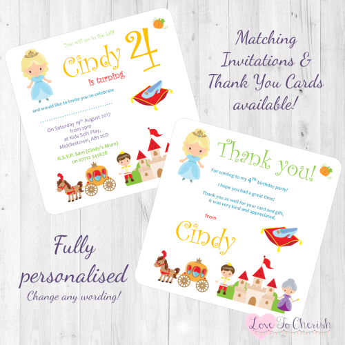 <!-- 013 -->Cinderella Fairytale Invites & Thank You Cards