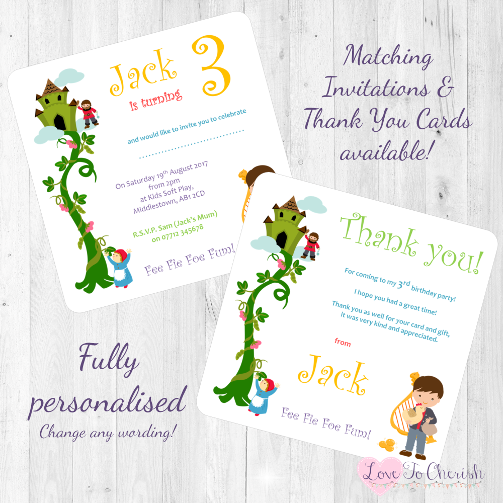 <!-- 014 -->Jack & The Beanstalk Fairytale Invites & Thank You Cards
