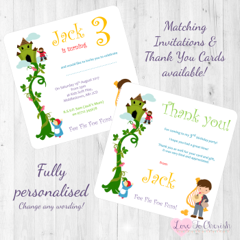 Jack & The Beanstalk Fairytale Invites & Thank You Cards