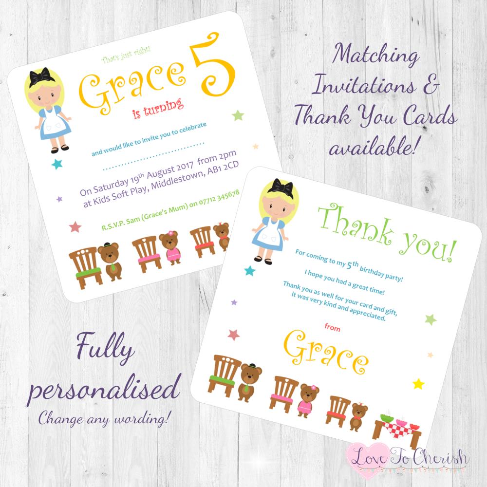 <!-- 015 -->Goldilocks & The Three Bears Fairytale Invites & Thank You Card