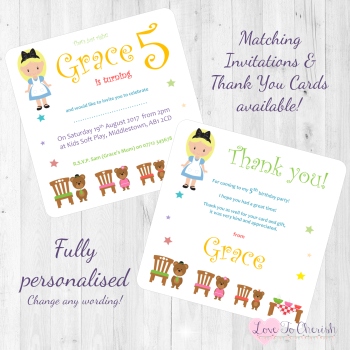 Goldilocks & The Three Bears Fairytale Invites & Thank You Cards