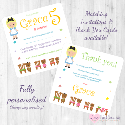 <!-- 015 -->Goldilocks & The Three Bears Fairytale Invites & Thank You Card
