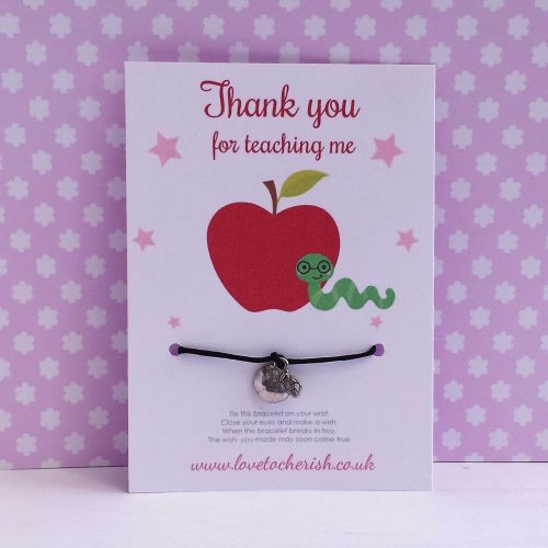Apple & Bookworm Wish/Friendship Bracelet