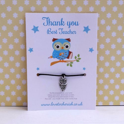 Blue Wise Owl Wish/Friendship Bracelet