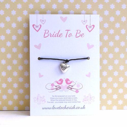 Bride To Be Love Birds & Hearts Wish/Friendship Bracelet
