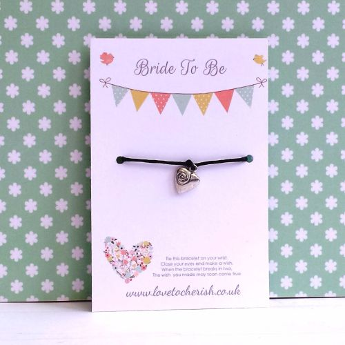 Bride To Be Floral Heart Wish/Friendship Bracelet