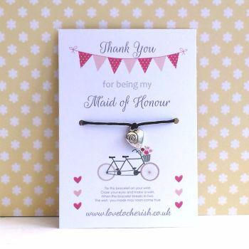 Tandem Bike Design Maid of Honour, Bridesmaid, Flowergirl Wish/Friendship Bracelet