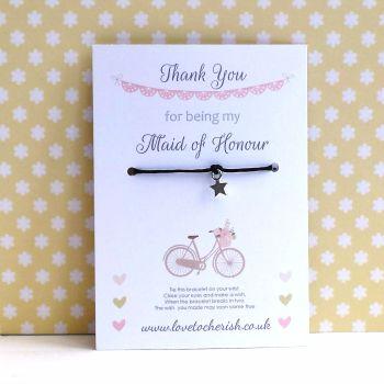 Vintage Bike Design Maid of Honour, Bridesmaid, Flowergirl Wish/Friendship Bracelet