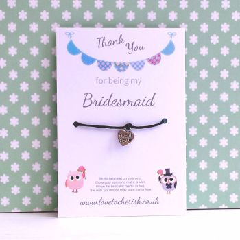 Cute Owls with Blue Bunting Design Maid of Honour, Bridesmaid, Flowergirl Wish/Friendship Bracelet