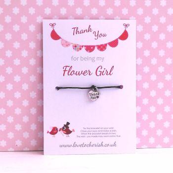Love Birds with Pink Bunting Design Maid of Honour, Bridesmaid, Flowergirl Wish/Friendship Bracelet