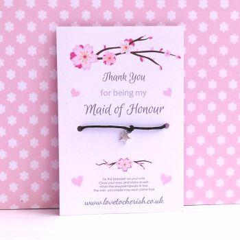 Cherry Blossom & Hearts Design Maid of Honour, Bridesmaid, Flowergirl Wish/Friendship Bracelet
