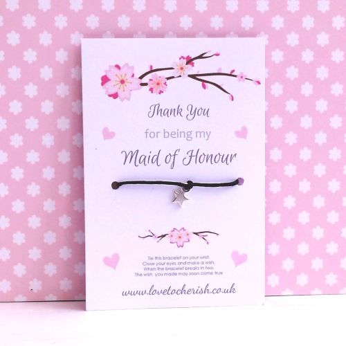 Cherry Blossom & Hearts Design Maid of Honour, Bridesmaid, Flowergirl Wish/