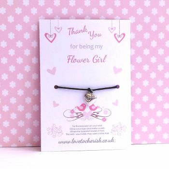 Love Birds & Hearts Design Maid of Honour, Bridesmaid, Flowergirl Wish/Friendship Bracelet