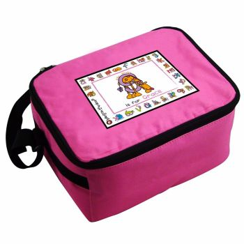 Bang On The Door Animal Alphabet Girl's Personalised Pink Lunch Bag