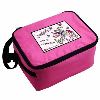 Bang On The Door Pony Girl Personalised Pink Lunch Bag