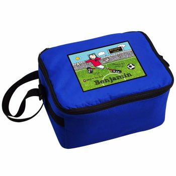Bang On The Door Football Crazy Personalised Blue Lunch Bag