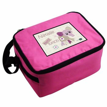 Cotton Zoo Wynciette the Elephant Personalised Pink Lunch Bag