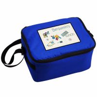 Cotton Zoo Farmyard Personalised Blue Lunch Bag