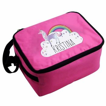 Unicorn Girl's Personalised Pink Lunch Bag