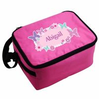 Butterfly Girl's Personalised Pink Lunch Bag