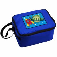 Space Rocket Boy's Personalised Blue Lunch Bag