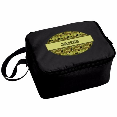 Camo Khaki Boy's Personalised Black Lunch Bag