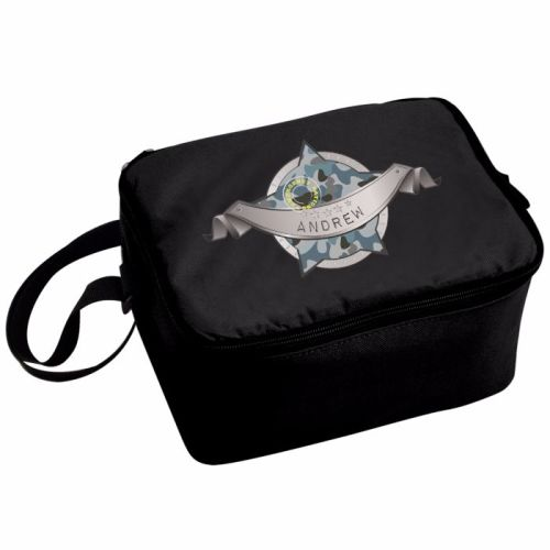 Camo Army Boy's Personalised Black Lunch Bag