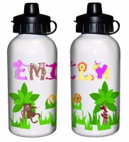 Animal Alphabet Girl's Personalised Drinks Bottle