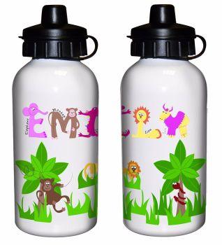Animal Alphabet Girl's Personalised Drinks Bottle