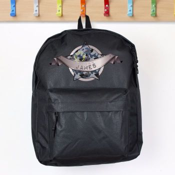 Camo Army Personalised Black Backpack