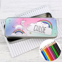 Unicorn Personalised Pencil Tin & Coloured Pencils