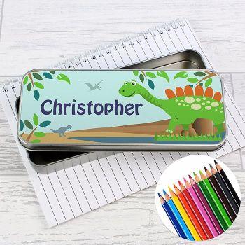 Dinosaur Personalised Pencil Tin & Coloured Pencils