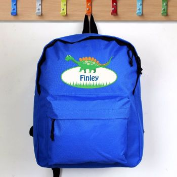 Dinosaur Personalised Blue Backpack