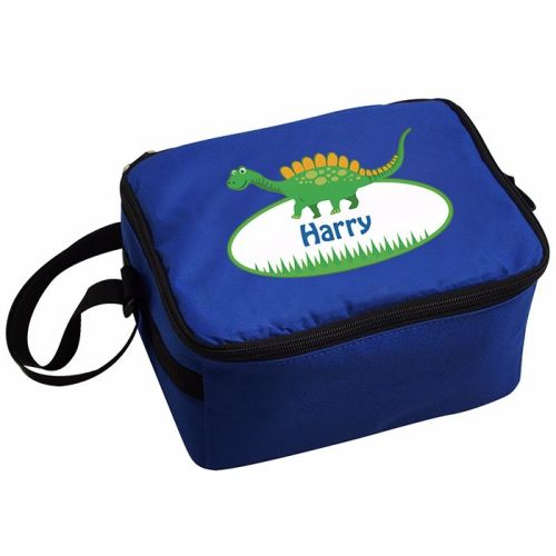 Dinosaur Boy's Personalised Blue Lunch Bag