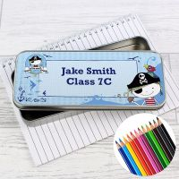 Pirate Personalised Pencil Tin & Coloured Pencils
