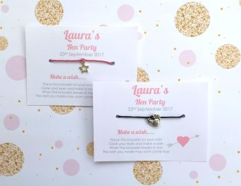 PERSONALISED Hen Party Pink Heart Wish/Friendship Bracelets