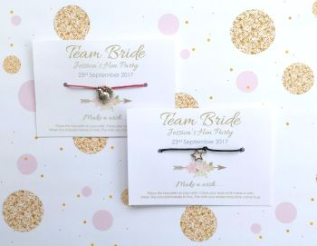 PERSONALISED Team Bride Hen Party Wish/Friendship Bracelets