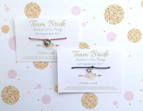 PERSONALISED Team Bride Hen Party Wish/Friendship Bracelets