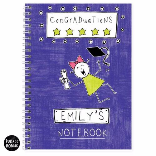 Purple Ronnie Female Graduation A5 Notebook