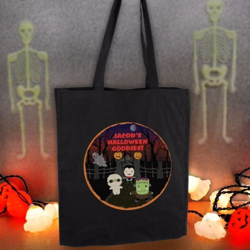 Halloween Personalised Black Cotton Bag
