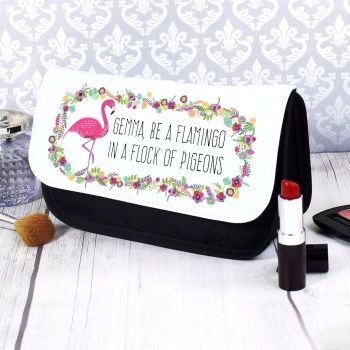 Flamingo Personalised Make Up Bag