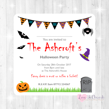 Halloween Personalised Bunting Invites