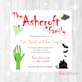 Halloween Personalised Hand Invites