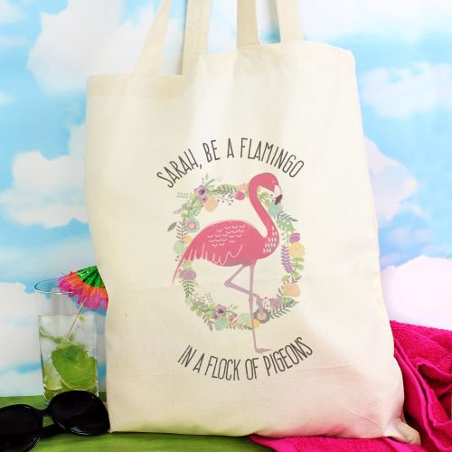 Flamingo Personalised Cotton Bag
