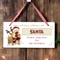 Boofle Christmas Reindeer Personalised Wooden Sign