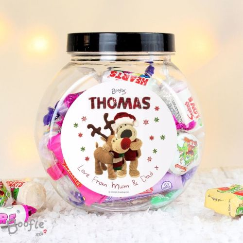 Boofle Reindeer Christmas Personalised Sweet Jar