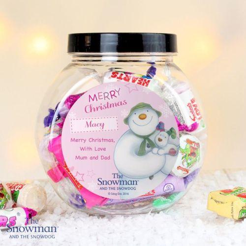 The Snowman & Snowdog Pink Christmas Personalised Sweet Jar