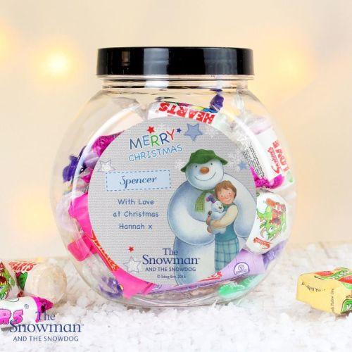 The Snowman & Snowdog Blue Christmas Personalised Sweet Jar